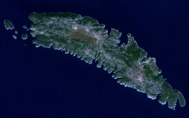 Solta-sziget műhold képe.