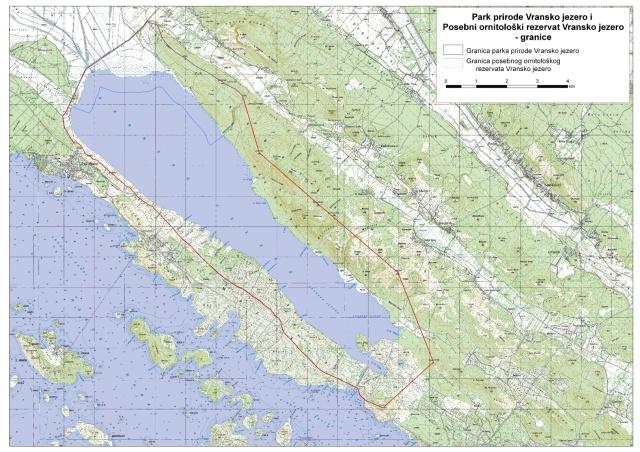 Vrana-tó Természeti Park a térképen